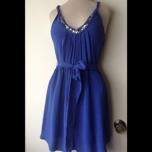 REBECCA TAYLOR DRESS SIZE 0 BLUE SILK SLEEVELESS